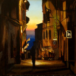 "Cortona Evening, egg tempera on panel, 8""x10"" ©Anne Belov 2013,  For sale, contact"