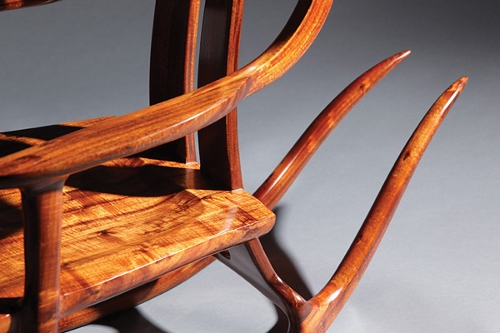 "Detail of ""Koa Rocker"" is by Rick Pitt."