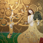 """""""Dani and the Tree of Life,"""" an homage to Gustav Klimt, oil on canvas by Rob Schouten."""