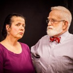 """Julia Tewksbury as Barbara and Eric Anderson as Phillip rehearse Joan Holden's play """"Nickel and Dimed,"""" based on the nonfiction bestseller by Barbara Ehrenreich. / Photo by Jim Carroll of Shu Images"""