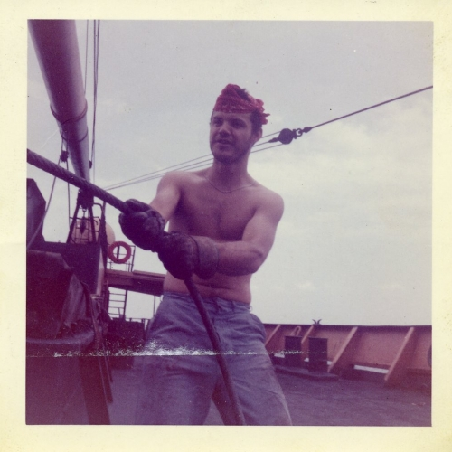 Jay Jacobs on board the SS Cathy bound for India with a full cargo of wheat  (photo courtesy of the author).