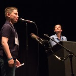 """Colin Diamond reads """"Billy Bob"""" with Kathryn Morgen coaching from the side."""