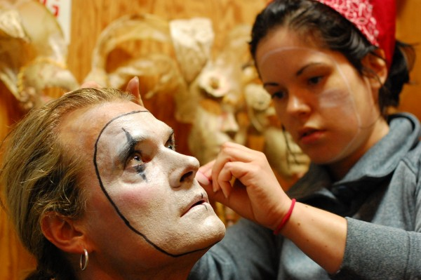 "Lars Larsen and Nichole Wiener in make-up for ""Oh What A Lovely War"" at OutCast june 2012. (Photo courtesy of OutCast)"