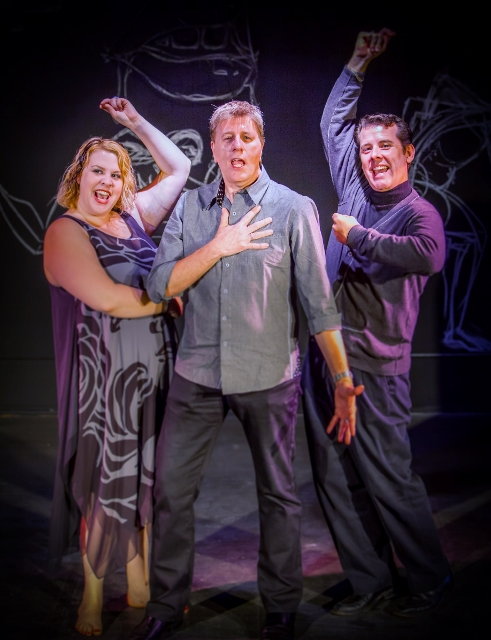 Katie Woodzick, Ned Farley and Ken Martinez sing the show that pays tribute to Jacques Brel. (Jim Carroll photo)