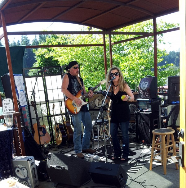 The rock band, Janie and Joe, play the Sunday afternoon series at Blooms Winery in Bayview.