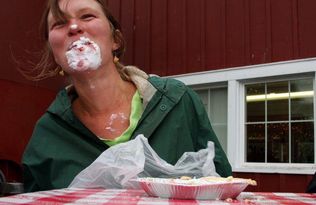 Annie Jesperson gets into some serious pie at Loganberry Fest 2012. (Photo courtesy of Greenbank Farm)
