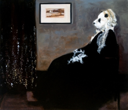 "Belov's ""Arrangement in Black, White and Gray,"" takes it's inspiration from Whistler's mother."