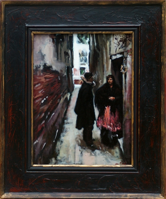 """A Street Scene in Venice"" after John Singer Sargent, oil on panel by Anne Belov. (Photos courtesy of the artist)"