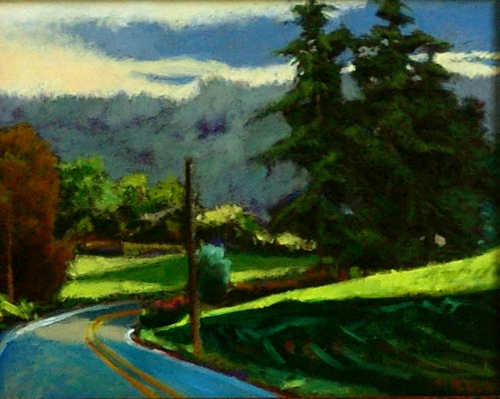 """Late Afternoon Ewing Road"" by Anne Belov, oil on panel."