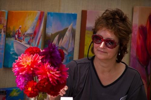 Anacortes painter Jennifer Bowman enjoys the subject of dahlias.