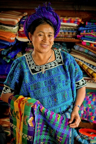 Lopez de Halter shows some of her fabrics at her workshop in Clinton.