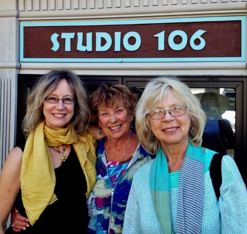 Painters Barbara Barry, Phyllis Ray and Faye Castle gather outside Studio 106 in Langley.