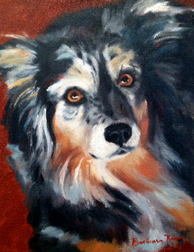 "One of Barbara Barry's animal stars candidates includes this oil painting of ""Snickers."""