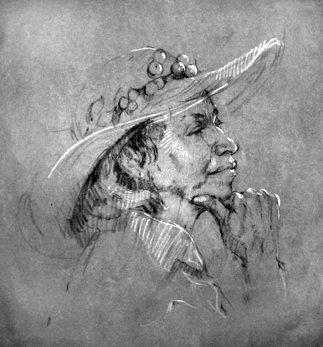 "Faye Castle's charcoal drawing is titled ""Sunhat."""