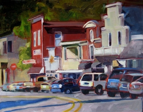 """Saturday Morning on First Street"" oil on canvas by Phyllis Ray. (All photos courtesy of the artists)"