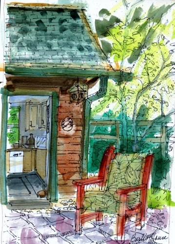 "Phyllis Ray made this watercolor and ink sketch of ""Barb's Patio."""
