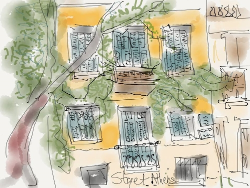 "Bardarson said she captured this dude in Athens playing his accordion on the stairs across from me while she drew this. ""A lot of the time the tunes in his right hand did not match the chords. I think he was playing and napping at the same time!"" she said. (Photos courtesy of Siri Bardarson)"