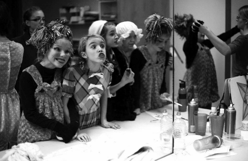 "Young actors clown around in the dressing room before showtime during ""Willy Wonka and the Chocolate Factory"" at Whidbey Children's Theater. (Lucy Brown photo)"