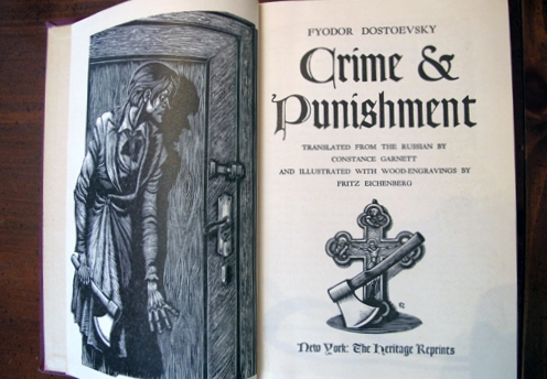 "An antique edition of Fydyor Dostoyevky's classic work, ""Crime and Punishment."""