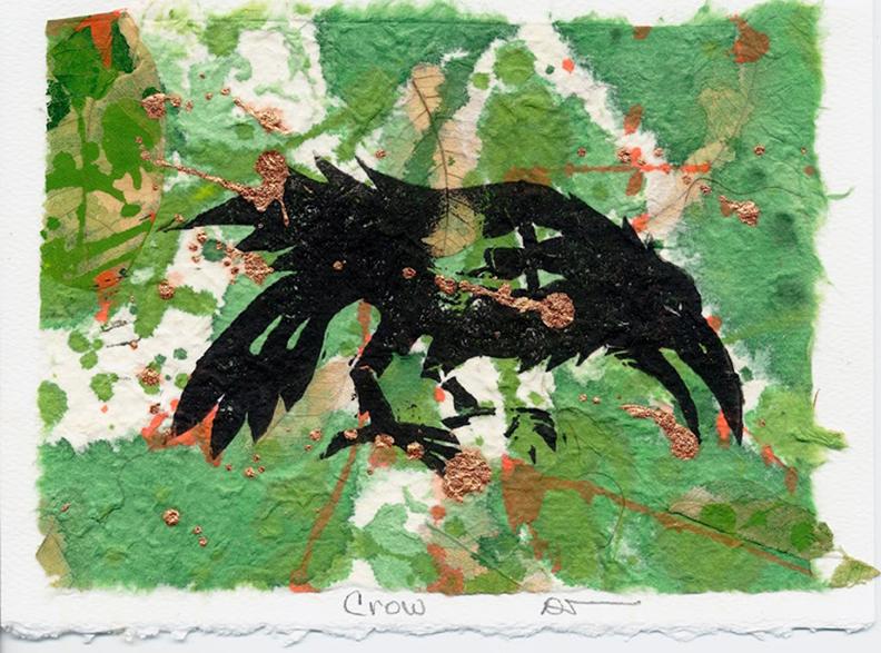 """Green Crow"" linocut print."