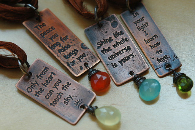 Inspirational Quote Pendants; Copper, silver and assorted stones