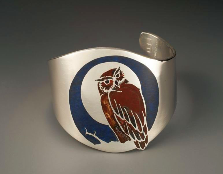 Owl Cuff, Sterling with Resin Inlay, 2 inches wide