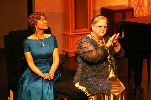 "Susan Hanson as Mrs. Bradman and Gwen Jones as Madame Arcati in WICA's production of ""Blithe Spirit."" / Photos courtesy of WICA"