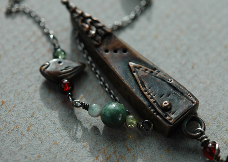 Wren House Pendant; Copper, Silver, and Garnets