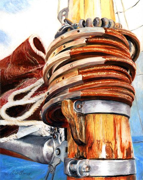 Mast-Hoops;-oil-pastel;-14x11