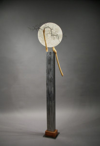 """Full,"" welded steel, corokia and cotoneaster wood."