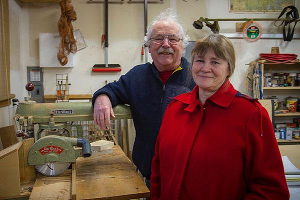 Dan and Betty Freeman in Dan's studio.