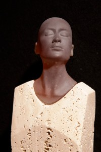 """Silent Moment,"" cast glass and travertine. (Photo by Lloyd Whannell)."