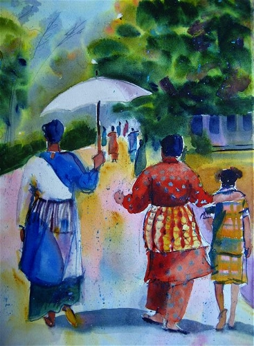 sea stories Women of Tonga walking to Church (367x500)