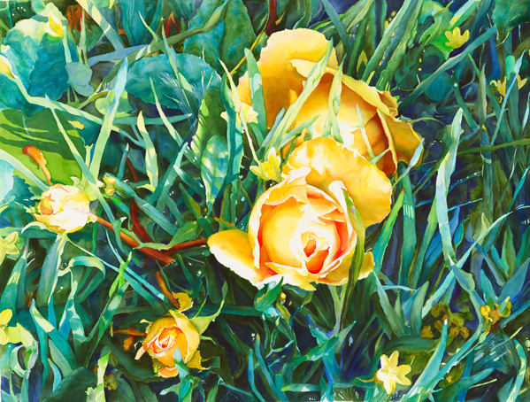 14, Roses in Yellow Eyed Grass,watercolor,48x38