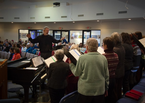 Karl directs the choir at Trinity Lutheran Church in Freeland. (photo by David Welton)