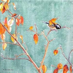 "Colored pencil art by Ursillo – ""Autumn Chicadee"" (photo courtesy of the artist)"