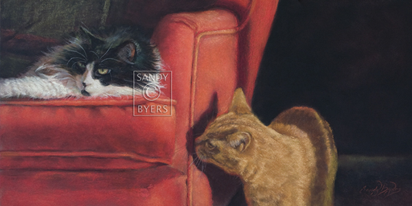 14 Dibs On The Red Chair, pastel,12x24