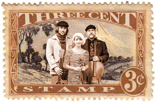 Levi Burkle, guitarist; Gloria Ferry-Brennan, violinist and James Hinkley, cellist, find their way into a Three Cent Stamp