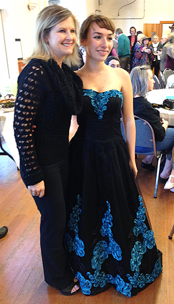Gloria Ferry-Brennan (right) shows off the custom-designed and custom-made performance dress created especially for her by Brenda ______??_______. (photo by Vicky Brown)