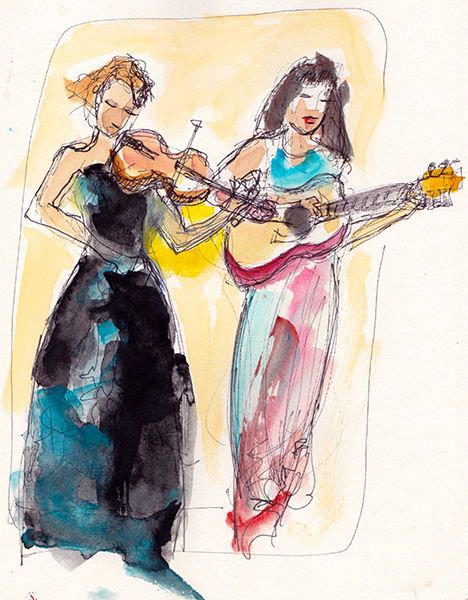Barbara Barry's sketch of the performers (photo courtesy of Barbara Barry)