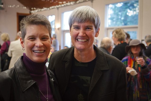 Co-founders Jan Shannon and Sue Taves mingle as the party gets started.