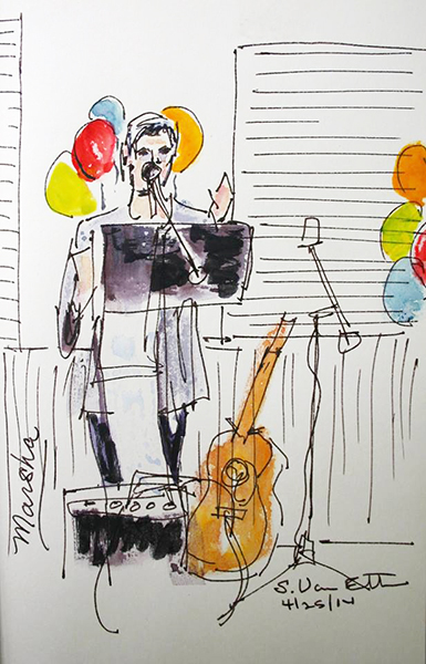 "Marsha Morgan sings a ""Thank You"" at WLM Launch Party. (Sketch courtesy of Sue Van Etten)"