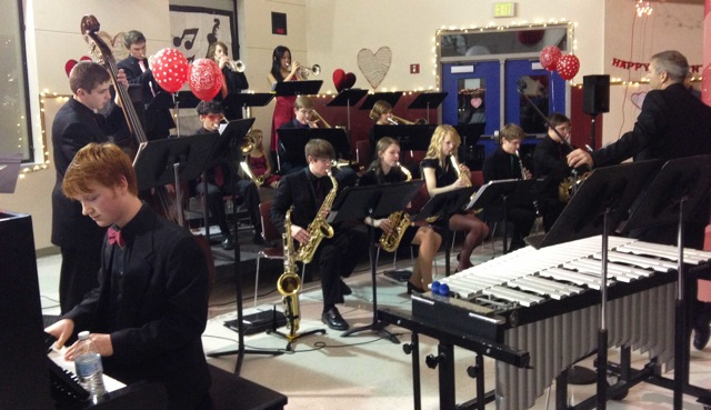 South Whidbey High School Jazz Ensemble performing at annual Sweetheart Ball (photo by Robin Bush)