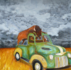 Who's driving, oil on canvas  (photo courtesy of the artist)