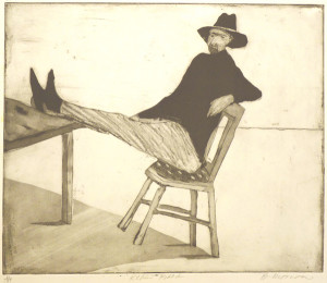 Kickin' Back, etching  (photo courtesy of the artist)