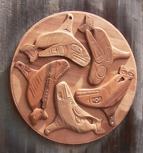 Whale Whorl Wheel, designed by Roger H. Purdue and carved by community carvers in 2011 (photo courtesy of Sara Purdue)
