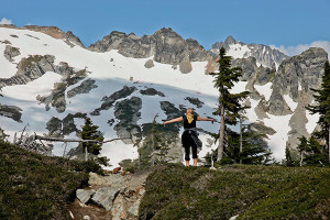 Gabbi Korrow celebrating Cascade Pass (photo by Chris Korrow)
