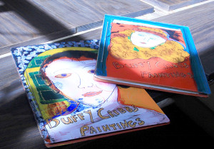 Hand bound reverse glass painting portfolios by Buffy Cribbs  (photo by Martha McCartney)