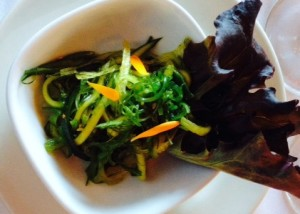 Seaweed and cucumber salad paired with SDW 2012 Reserve Pinot Noir (photo by Karen Krug)