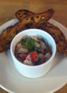 Sesame shrimp bruschetta with herb crostini paired with SDW 2013 Estate Rose of Pinot Noir (photo by Karen Krug)